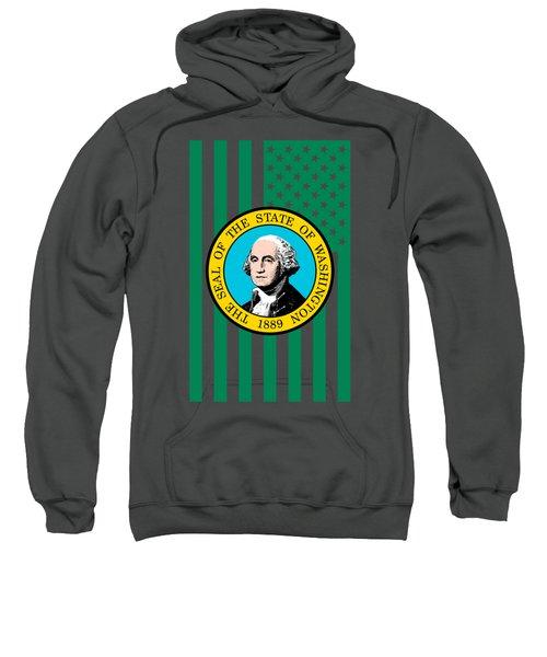 Washington State Flag Graphic Usa Styling Sweatshirt by Garaga Designs