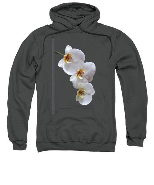 White Orchids On Terracotta Vdertical Sweatshirt by Gill Billington
