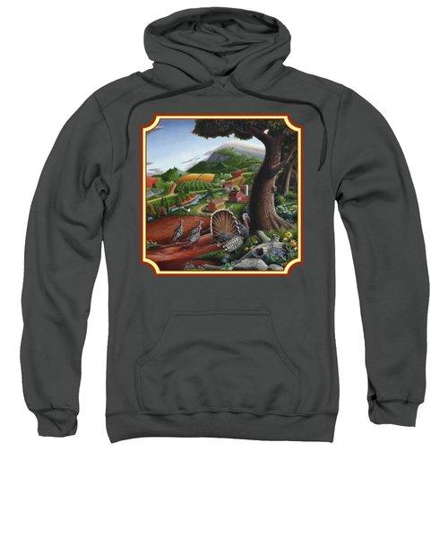 Wild Turkeys In The Hills Country Landscape - Square Format Sweatshirt by Walt Curlee