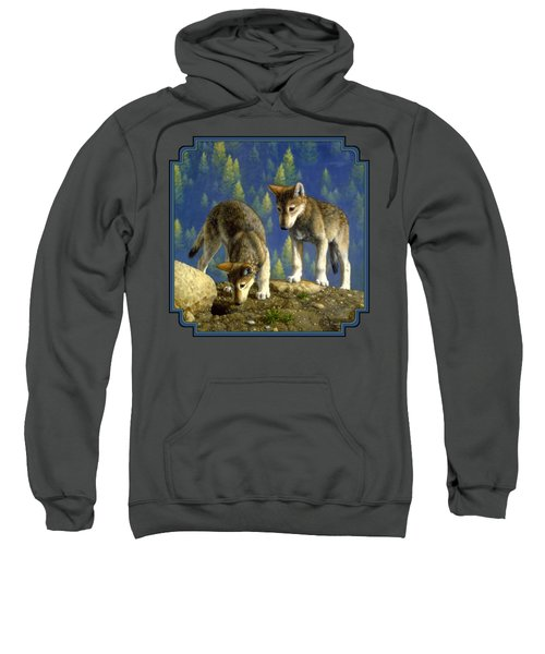 Wolf Pups - Anybody Home Sweatshirt by Crista Forest