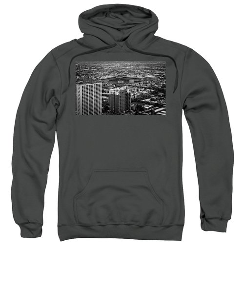 Wrigley Field Park Place Towers Day Bw Dsc4575 Sweatshirt by Raymond Kunst