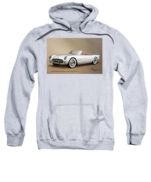 1953 Corvette Classic Vintage Sports Car Automotive Art Sweatshirt by John Samsen