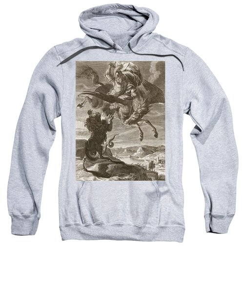 Bellerophon Fights The Chimaera, 1731 Sweatshirt by Bernard Picart