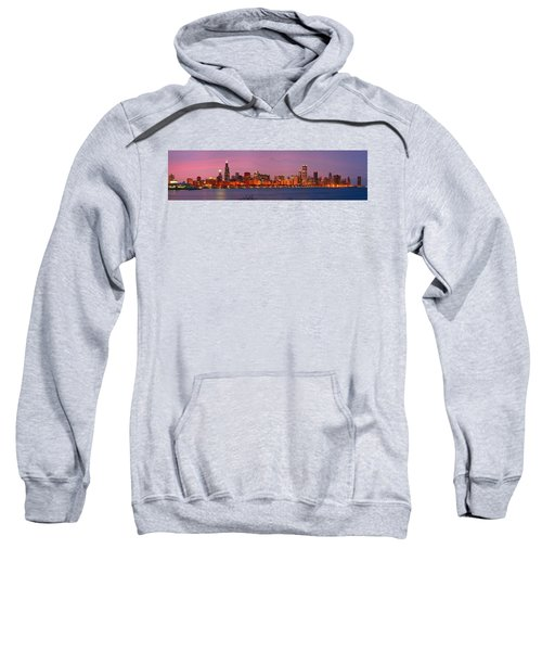 Chicago Skyline At Dusk 2008 Panorama Sweatshirt by Jon Holiday