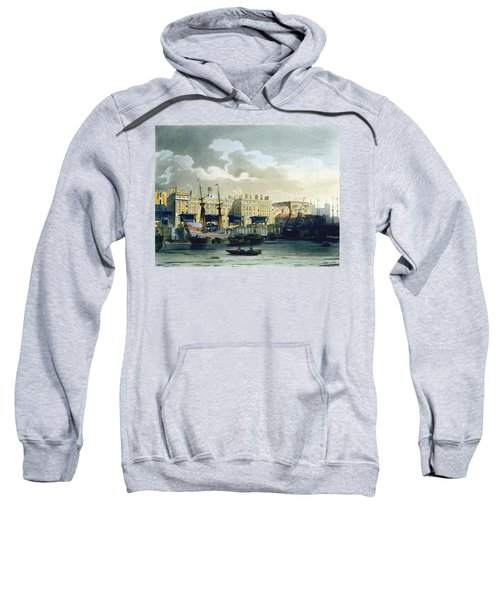 Custom House From The River Thames Sweatshirt by T. & Pugin, A.C. Rowlandson