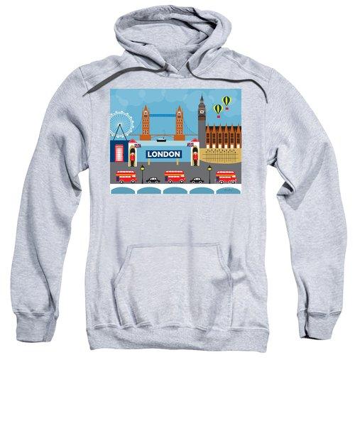 London England Skyline Style O-lon Sweatshirt by Karen Young