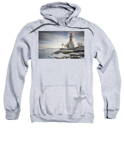 Marblehead Lighthouse Winter Sweatshirt by James Dean