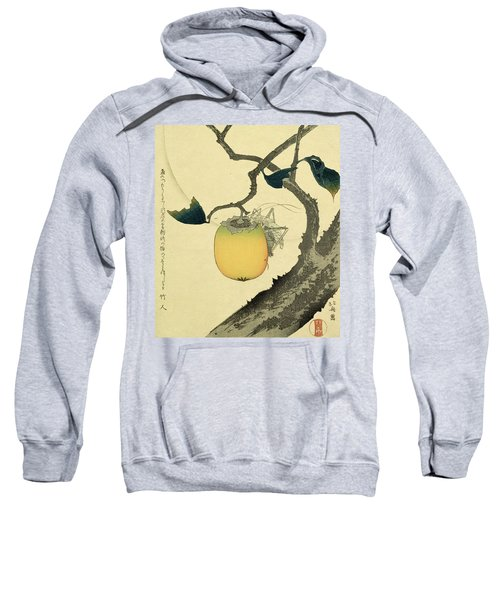 Moon Persimmon And Grasshopper Sweatshirt by Katsushika Hokusai