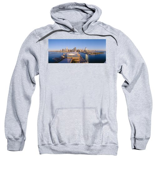 Navy Pier, Chicago, Morning, Illinois Sweatshirt by Panoramic Images