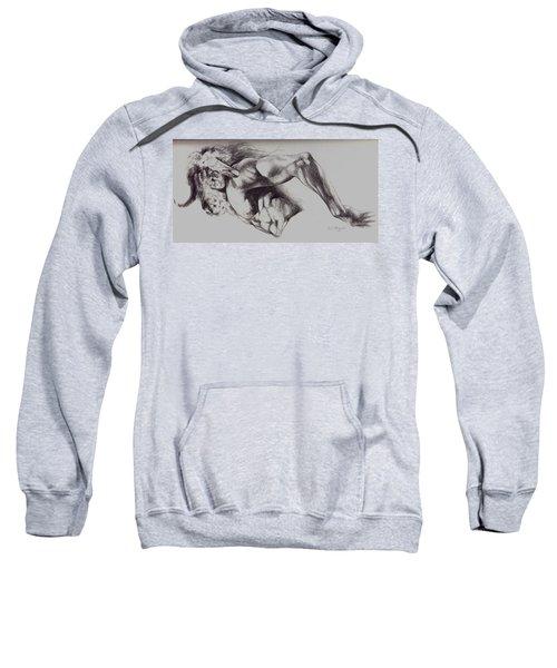 North American Minotaur Pencil Sketch Sweatshirt by Derrick Higgins