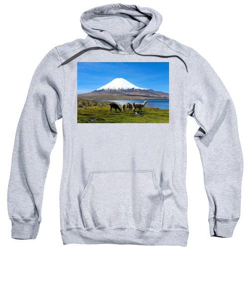 Parinacota Volcano Lake Chungara Chile Sweatshirt by Kurt Van Wagner