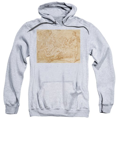 Perseus Rescuing Andromeda Red Chalk On Paper Sweatshirt by or Zuccaro, Federico Zuccari