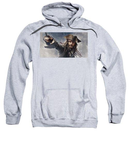 Pirates Of The Caribbean Johnny Depp Artwork 2 Sweatshirt by Sheraz A