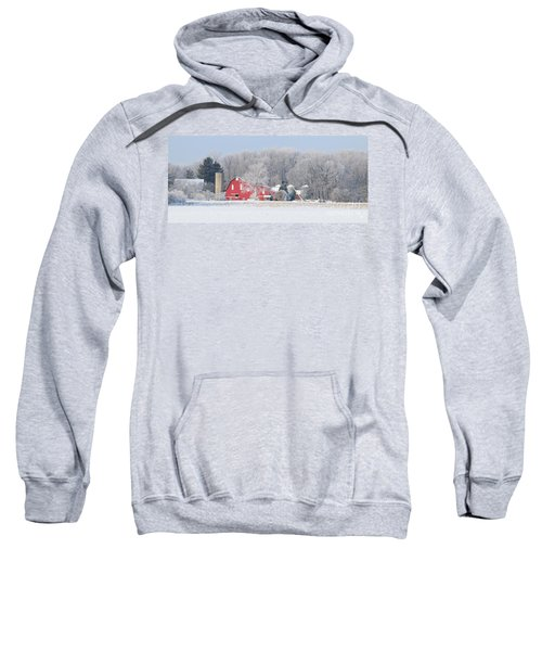 Red Barn Frosty Morning Panorama1 Sweatshirt by Jack Schultz