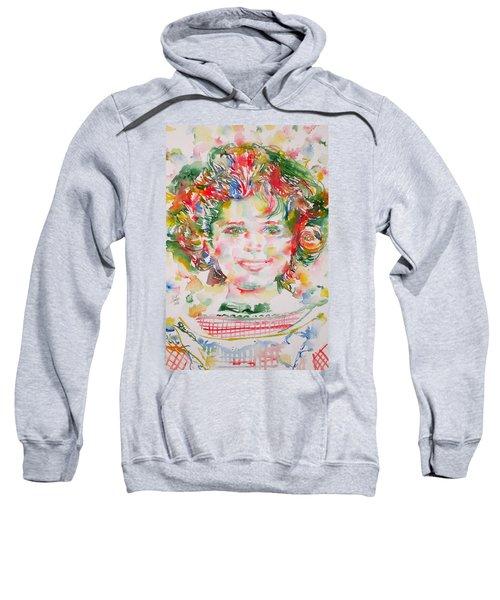 Shirley Temple - Watercolor Portrait.1 Sweatshirt by Fabrizio Cassetta