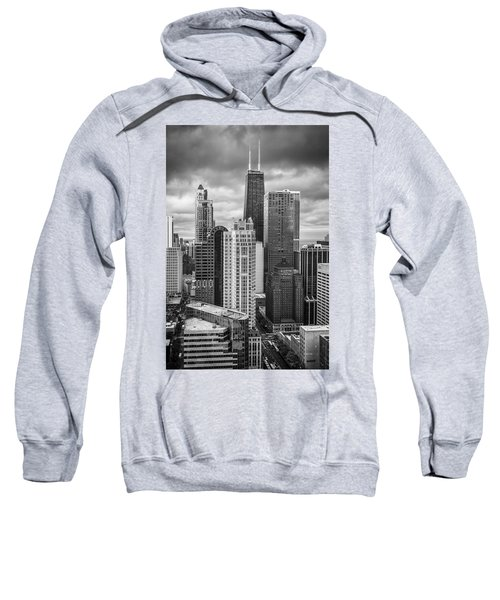 Streeterville From Above Black And White Sweatshirt by Adam Romanowicz