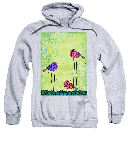 Three Birds - Spring Art By Sharon Cummings Sweatshirt by Sharon Cummings