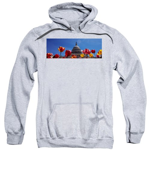 Tulips With A Government Building Sweatshirt by Panoramic Images