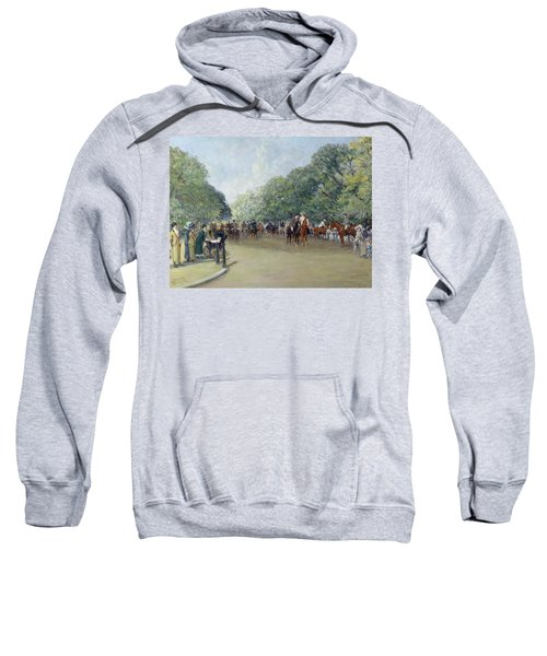 View Of Hyde Park With Figures On Rotten Row  Sweatshirt by Albert Jnr Ludovici