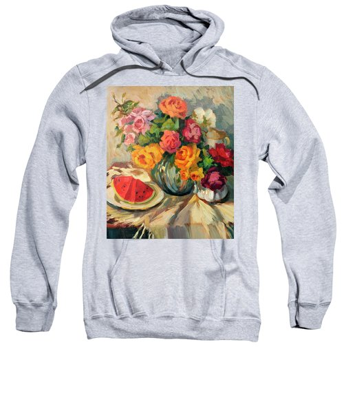 Watermelon And Roses Sweatshirt by Diane McClary