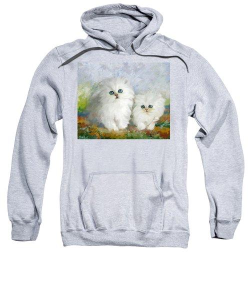 White Persian Kittens  Sweatshirt by Catf