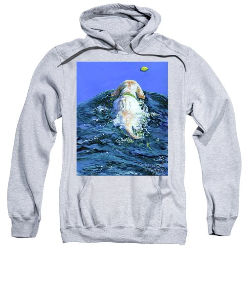 Yellow Lab  Blue Wake Sweatshirt by Molly Poole