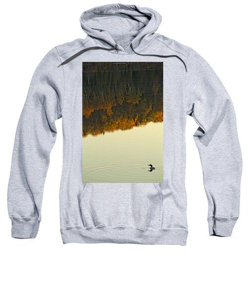Loon In Opeongo Lake With Reflection Sweatshirt by Robert Postma