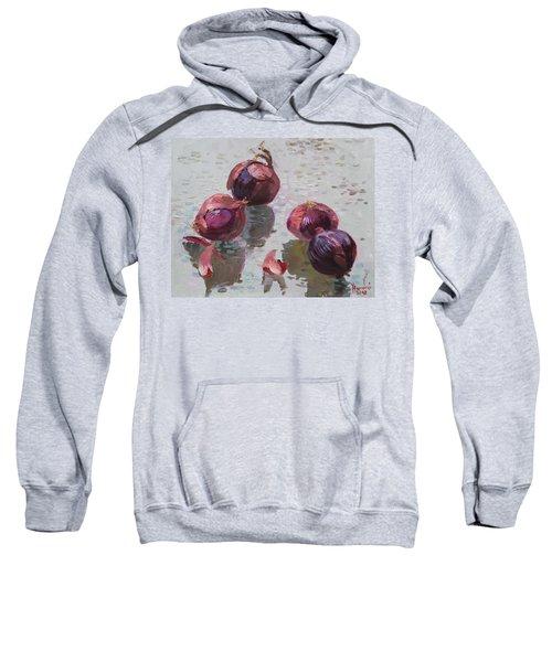 Red Onions Sweatshirt by Ylli Haruni