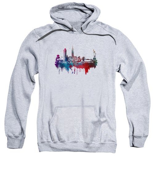 New York City Skyline Blue Sweatshirt by Justyna JBJart