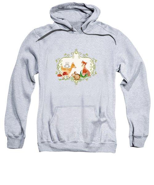 Woodland Fairytale - Animals Deer Owl Fox Bunny N Mushrooms Sweatshirt by Audrey Jeanne Roberts