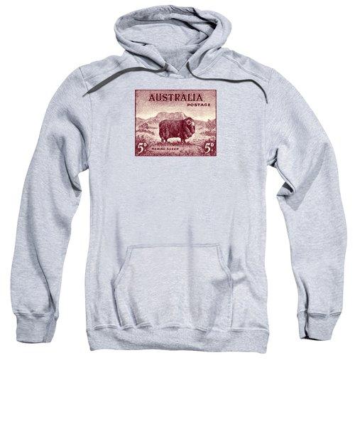 1946 Australian Merino Sheep Stamp Sweatshirt by Historic Image
