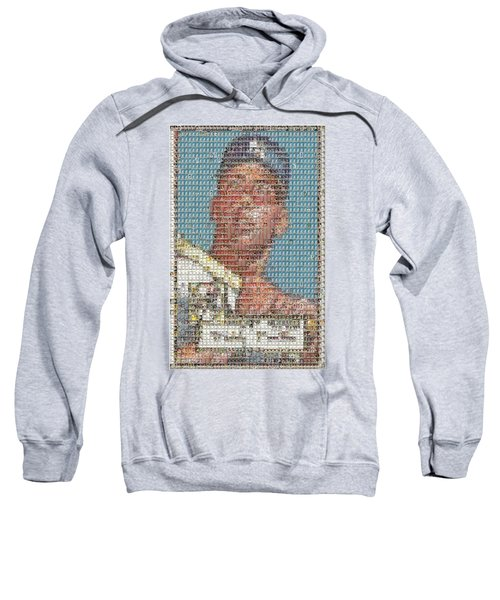1952 Topps Mickey Mantle Rookie Card Mosaic Sweatshirt by Paul Van Scott