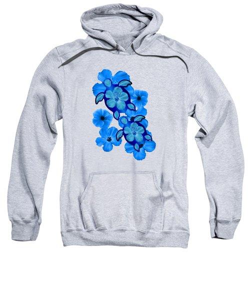 Blue Hibiscus And Honu Turtles Sweatshirt by Chris MacDonald