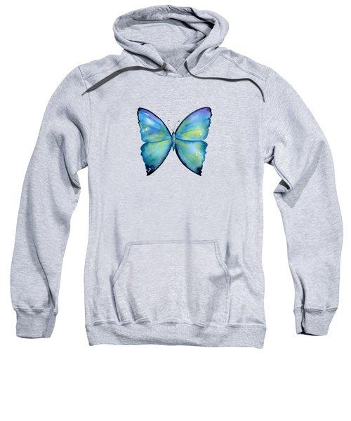 2 Morpho Aega Butterfly Sweatshirt by Amy Kirkpatrick
