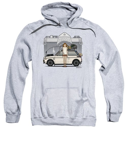 Honda N600 Rally Kei Car With Japanese 60's Asahi Pentax Commercial Girl Sweatshirt by Monkey Crisis On Mars