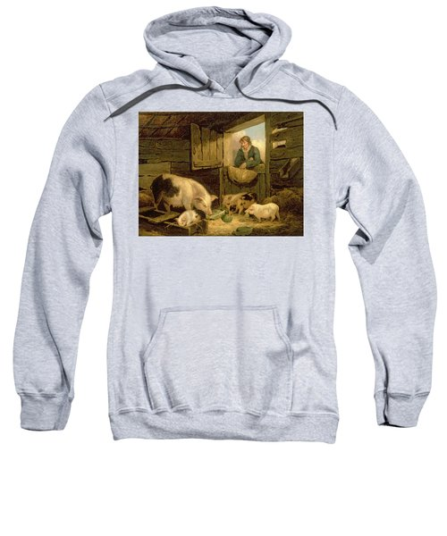 A Boy Looking Into A Pig Sty Sweatshirt by George Morland