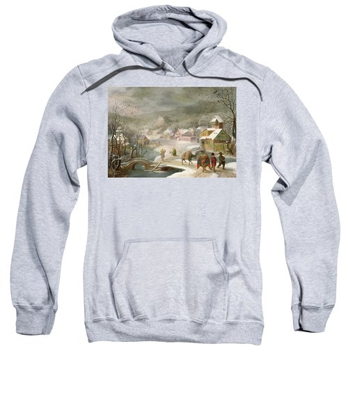 A Winter Landscape With Travellers On A Path Sweatshirt by Denys van Alsloot