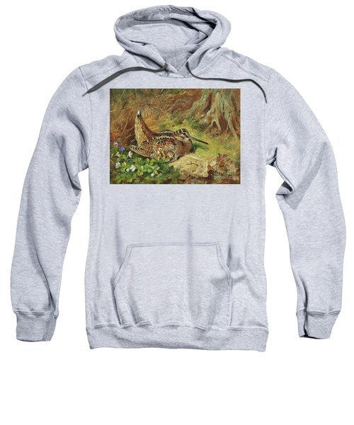 A Woodcock And Chicks Sweatshirt by Archibald Thorburn