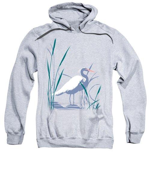 abstract Egret graphic pop art nouveau 1980s stylized retro tropical florida bird print blue gray  Sweatshirt by Walt Curlee