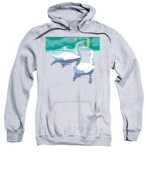 Abstract Swans Bird Lake Pop Art Nouveau Retro 80s 1980s Landscape Stylized Large Painting  Sweatshirt by Walt Curlee