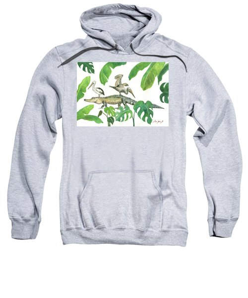 Alligator And Pelicans Sweatshirt by Juan Bosco