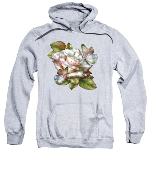 Antique Rose And Butterflies Sweatshirt by Carol Cavalaris