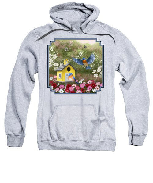 Bluebirds And Yellow Birdhouse Sweatshirt by Crista Forest
