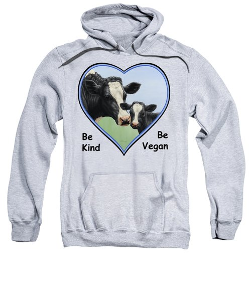 Holstein Cow And Calf Blue Heart Vegan Sweatshirt by Crista Forest