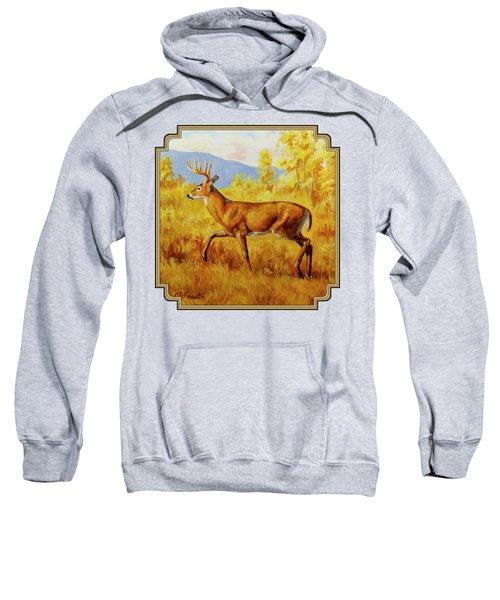 Whitetail Deer In Aspen Woods Sweatshirt by Crista Forest