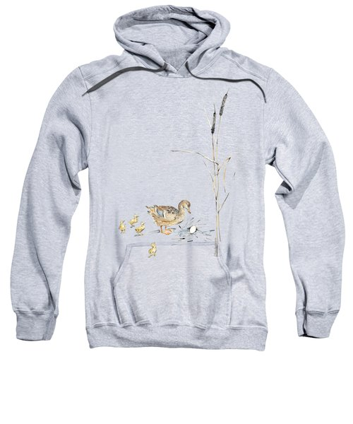 The Ugly Duckling - Mother Duck, Large Egg, And Four Ducklings - Illustration For Classic Fairy Tale Sweatshirt by Elena Abdulaeva