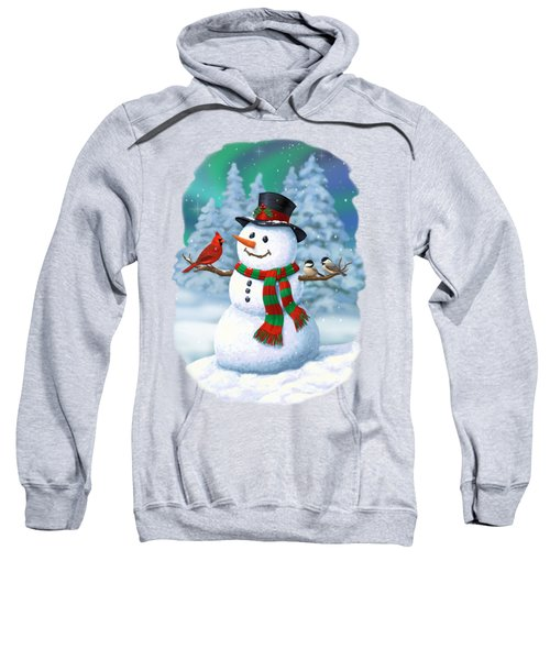 Sharing The Wonder - Christmas Snowman And Birds Sweatshirt by Crista Forest