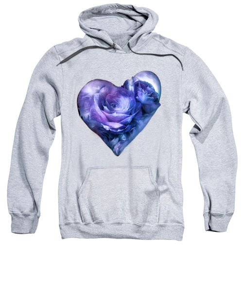 Heart Of A Rose - Lavender Blue Sweatshirt by Carol Cavalaris