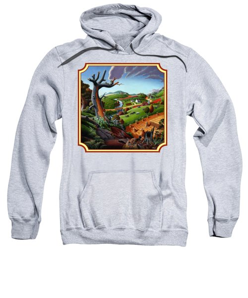 Autumn Wheat Harvest Country Farm Life Landscape - Square Format Sweatshirt by Walt Curlee