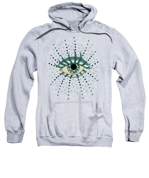 Beautiful Abstract Dotted Blue Eye Sweatshirt by Boriana Giormova